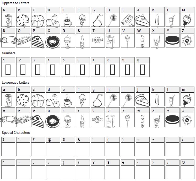 Sugar Coma Font Character Map