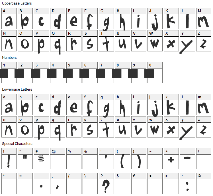Sugar Font Character Map