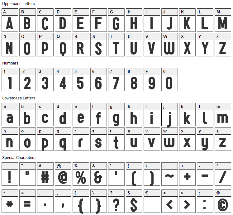Sugo Font Character Map