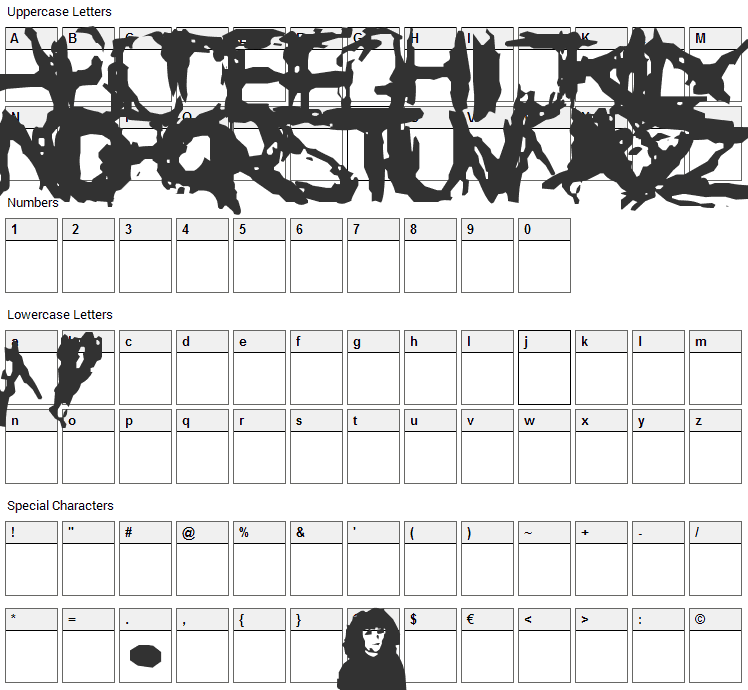 Suicide Font Character Map