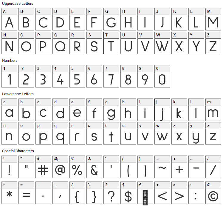Sulphur Point  Font Character Map