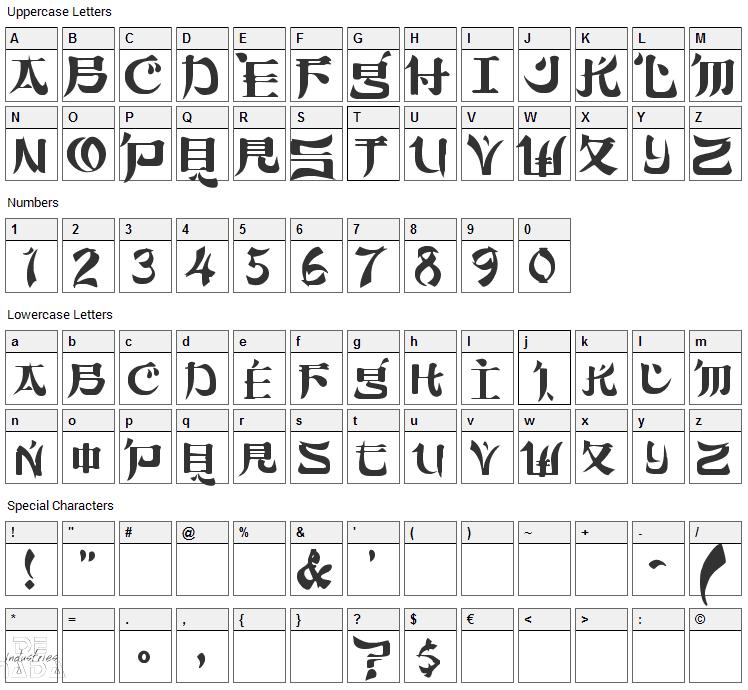Sumdumgoi Font Character Map