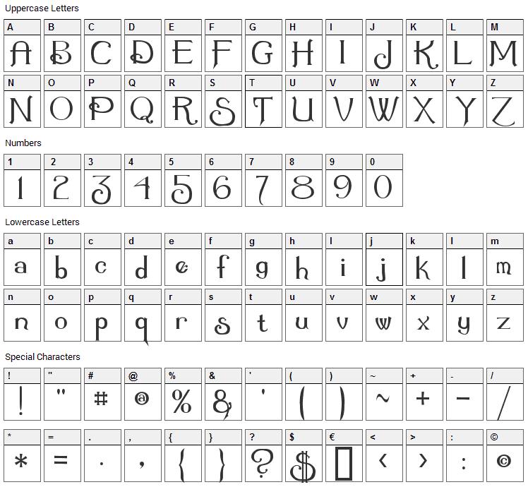 Summertime Font Character Map