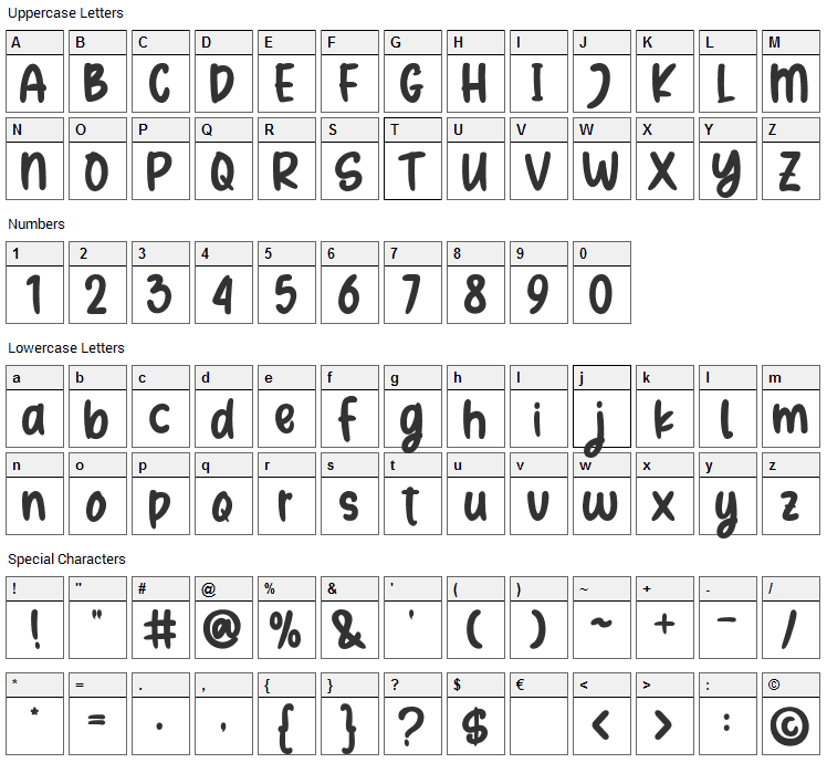 Summery Font Character Map