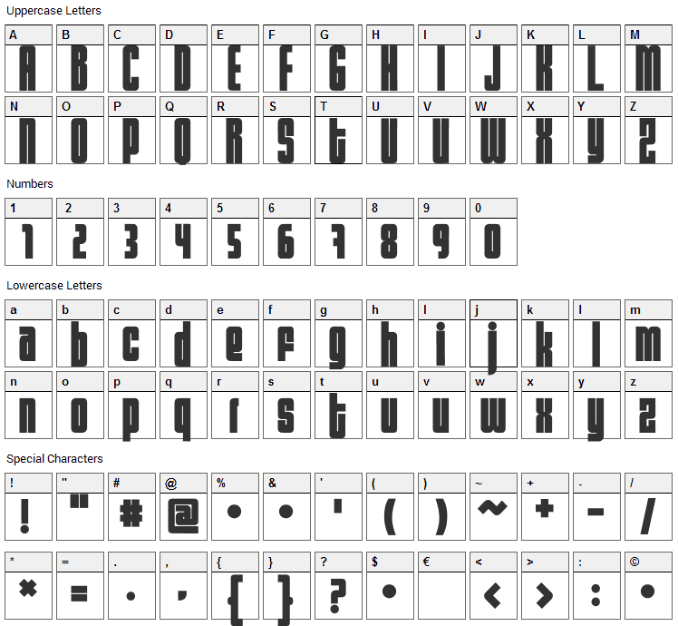 Sumo Font Character Map