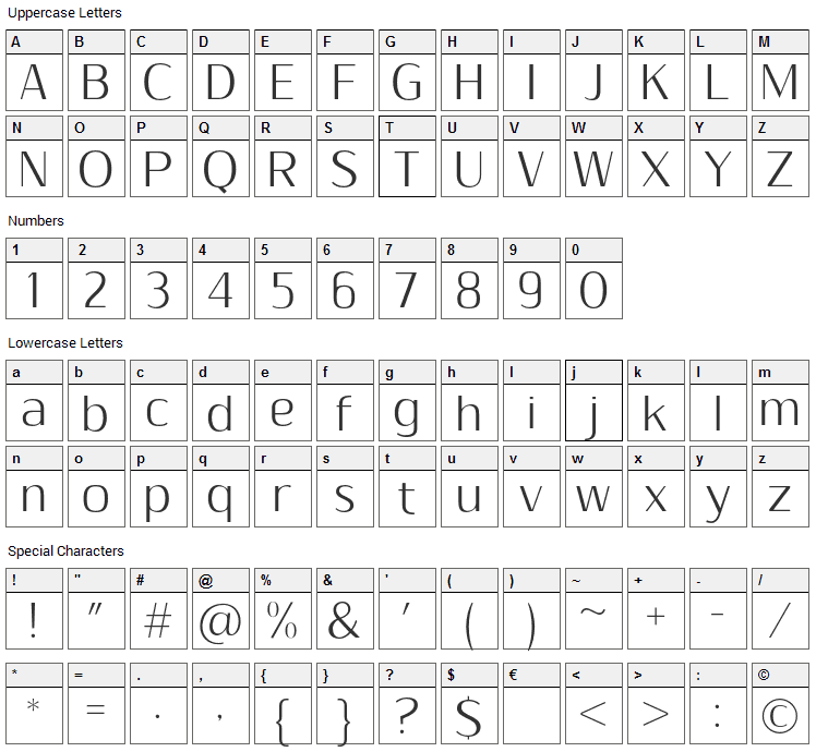 Sumptuous Light Font Character Map