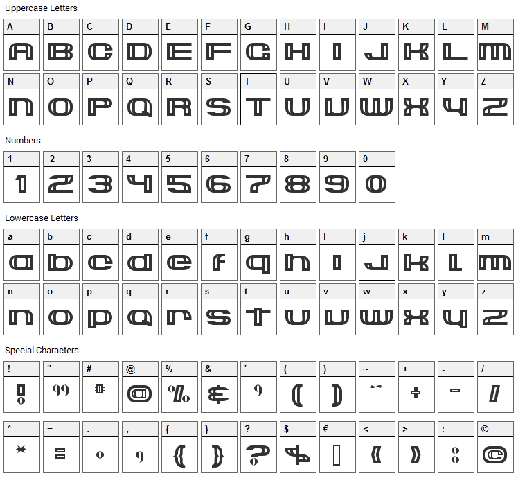 Suncatcher Font Character Map