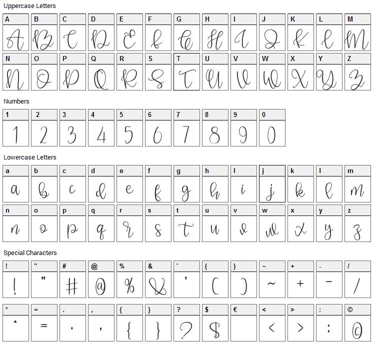 Sunderland Font Character Map