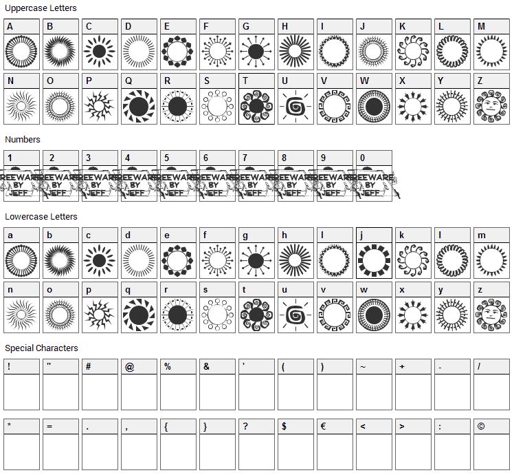 Sundings JL Font Character Map