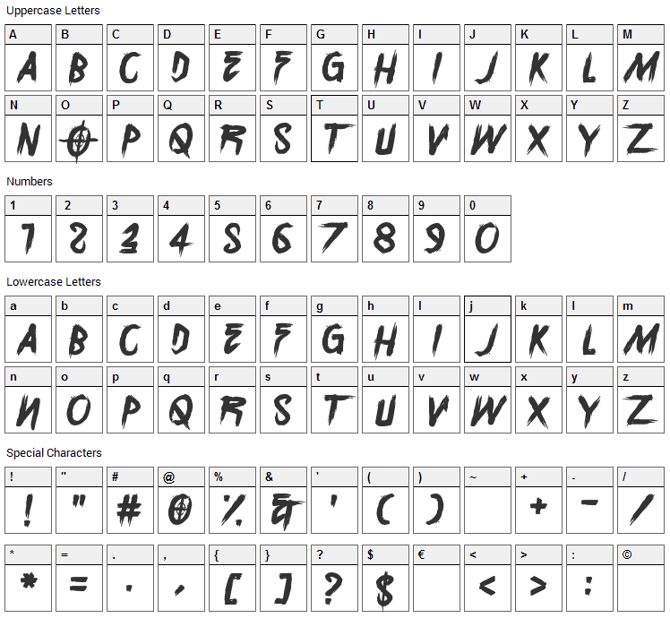 Sunset Overdrive Font Character Map