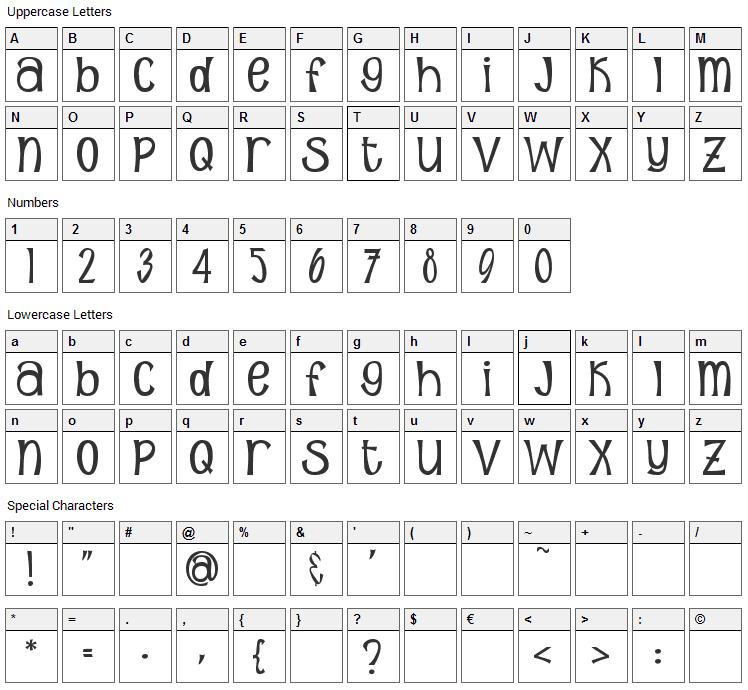 Sunshine Poppy Font Character Map