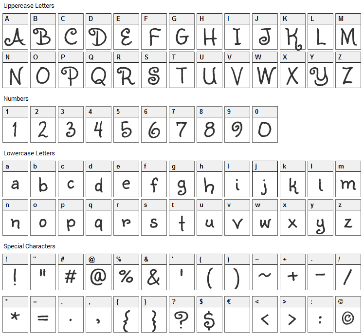 Sunshiney Font Character Map