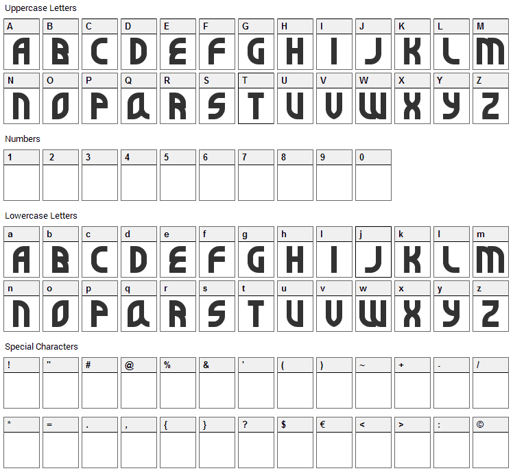 Super Befok Font Character Map