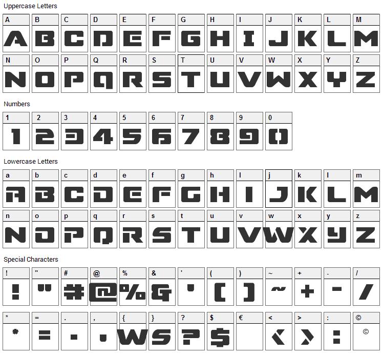 Super Commando Font Character Map