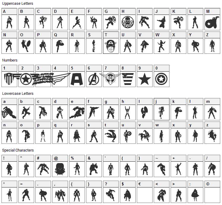 Super Soldier Font Character Map