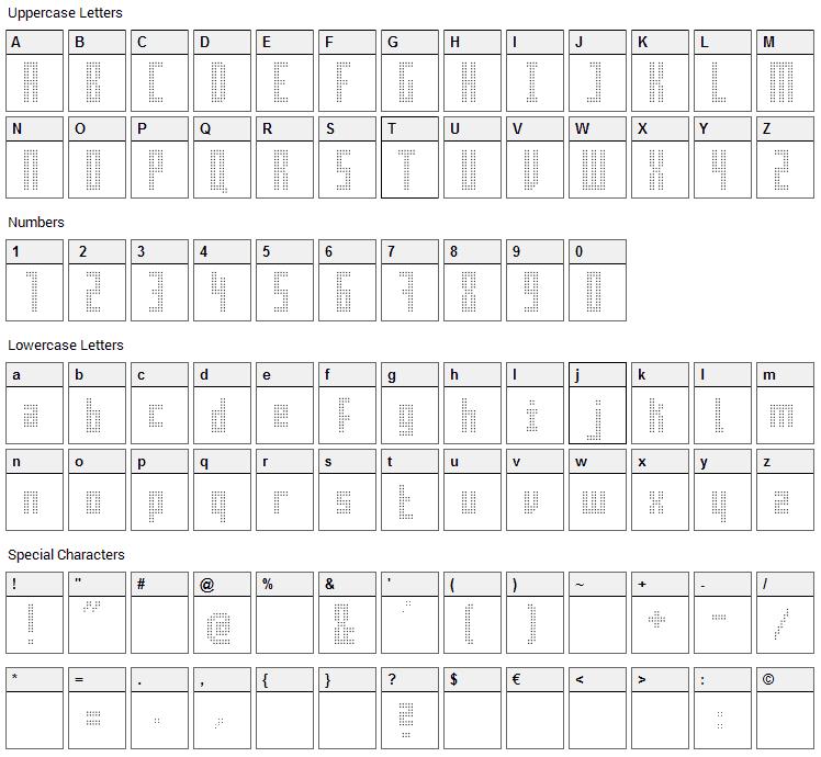 Superaircraft Font Character Map