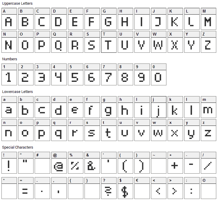 Superhelio Font Character Map