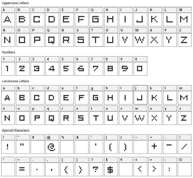 Superkarcher Font Character Map
