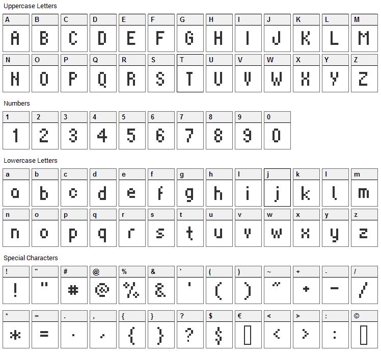Supernatural Font Character Map