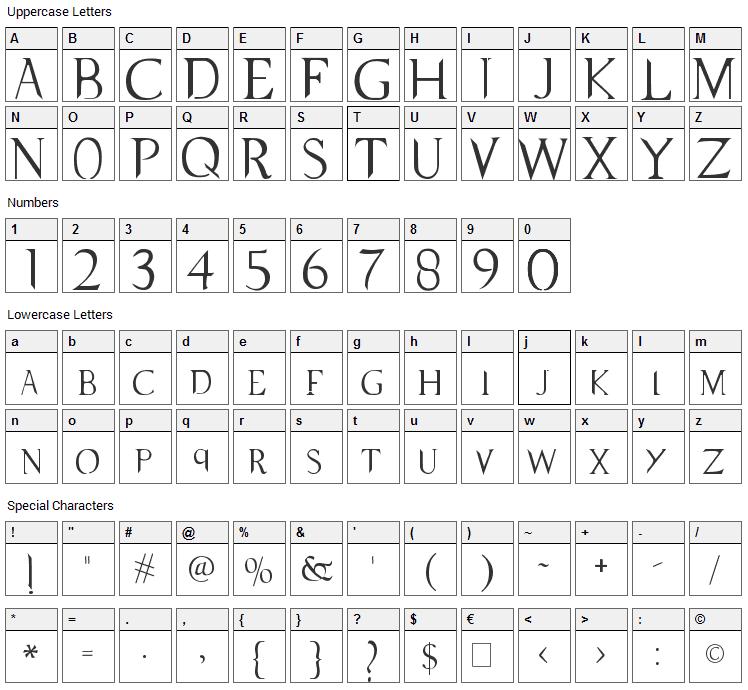 Supernatural Knight Font Character Map