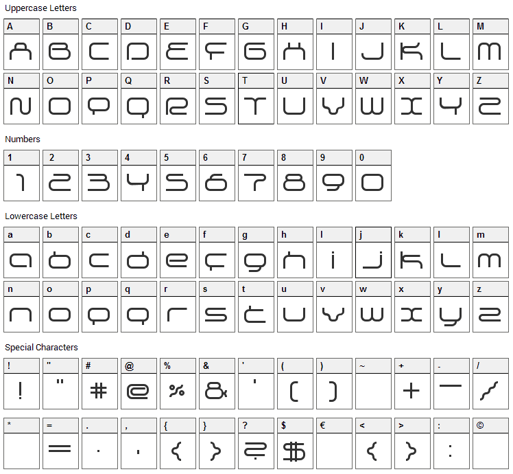 Supersonic Font Character Map