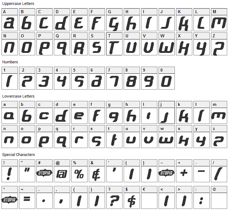 Supersoulfighter Font Character Map