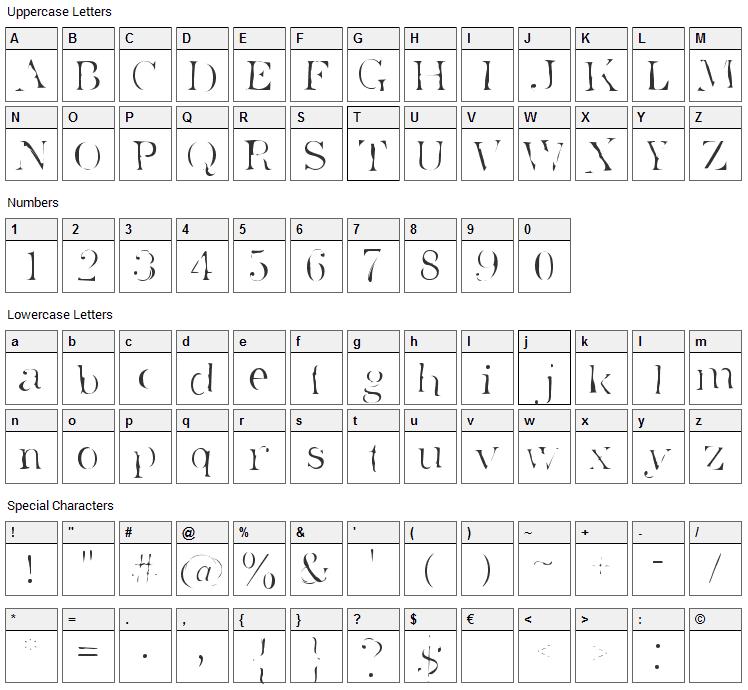 Superstar Font Character Map