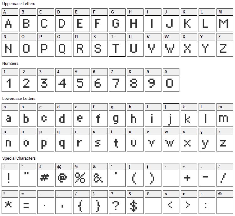 Supertext Font Character Map