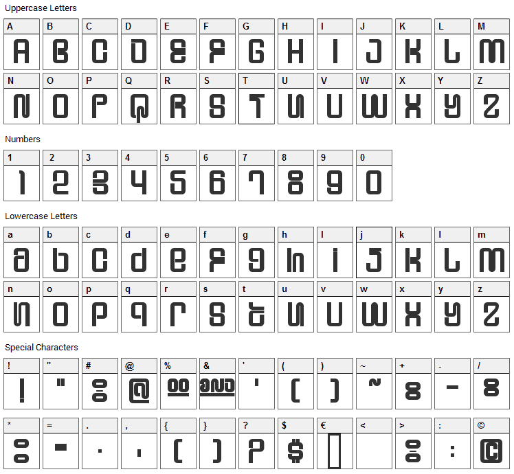 Supervixen Font Character Map