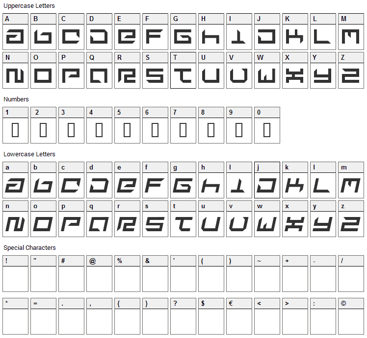 Suplex Font Character Map
