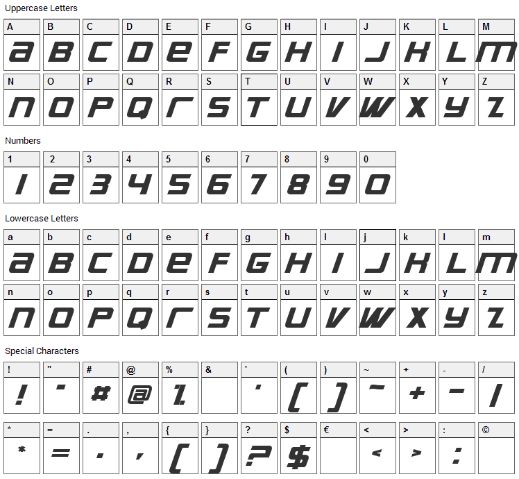 Supreme Font Character Map