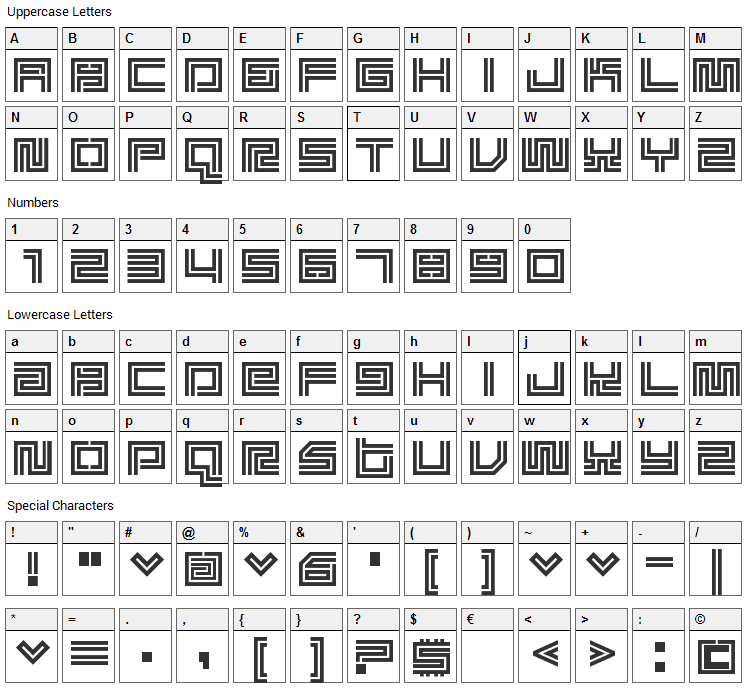 Supreme Fontaliciou Font Character Map