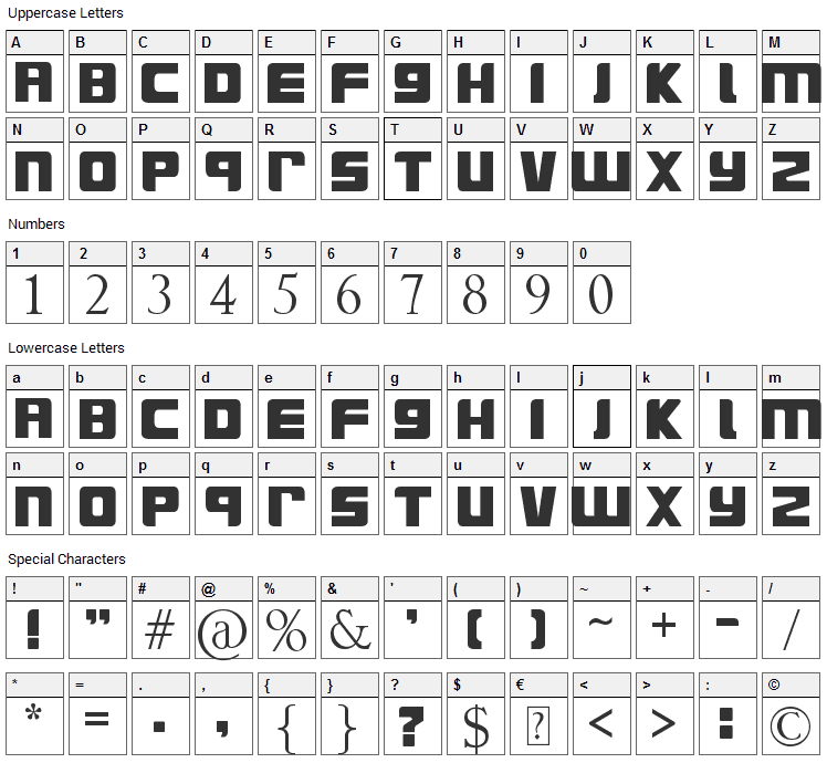SurfsUp Font Character Map