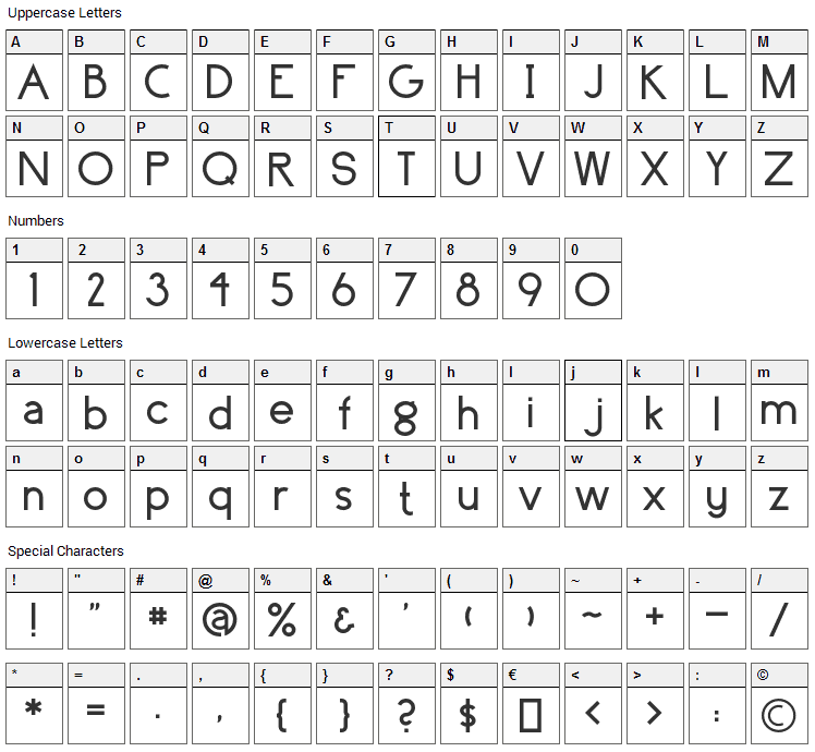 Surrounding Font Character Map