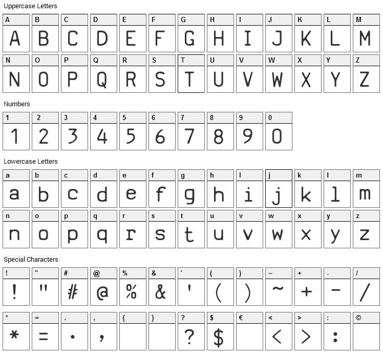 SV Basic Manual Font Character Map