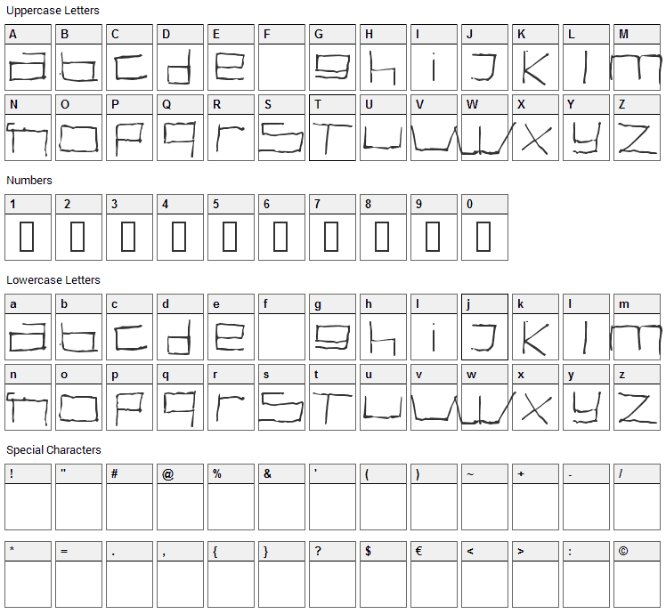 Swallow Font Character Map
