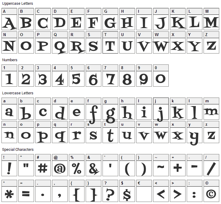 Swanky Font Character Map