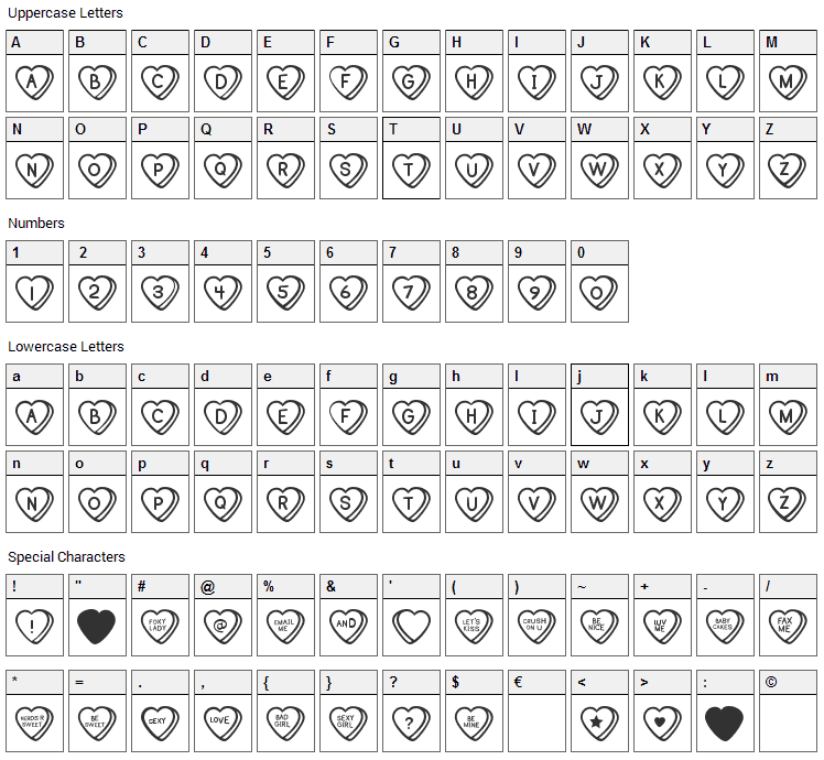 Sweat Hearts Font Character Map