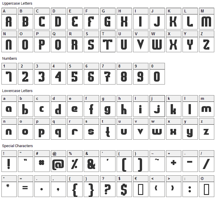 Sweden Funkis Font Character Map