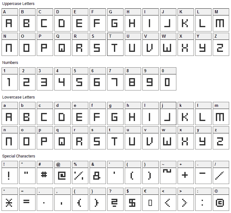 Swft Font Character Map