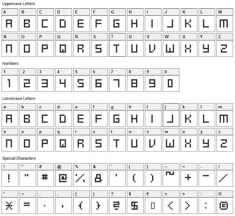 Swft Font Character Map