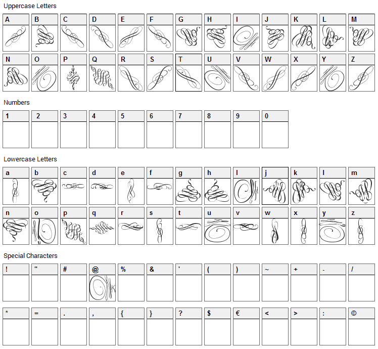Swinging Font Character Map