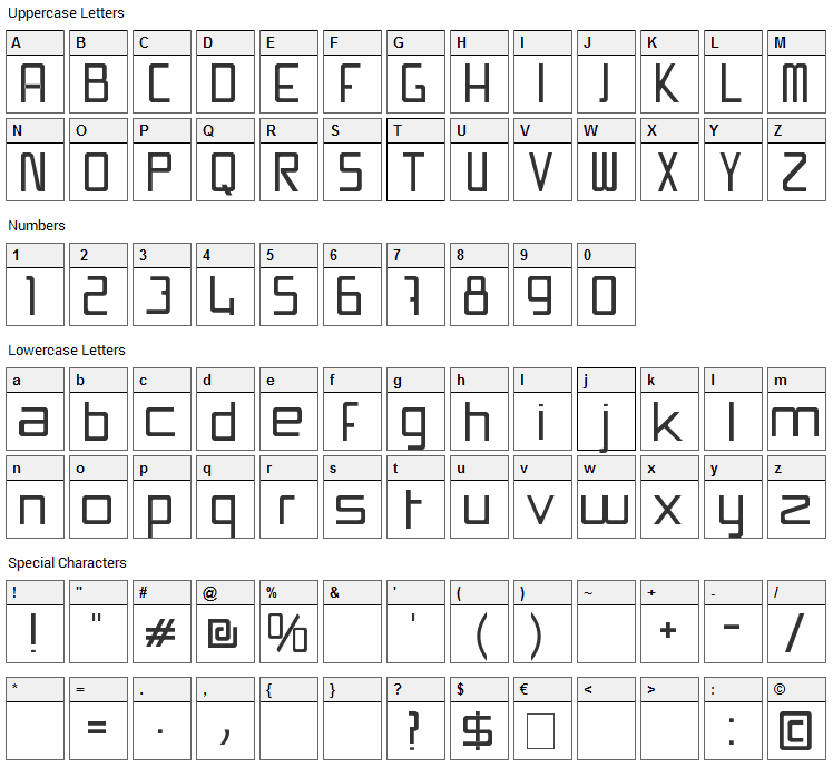 Swissmade Font Character Map
