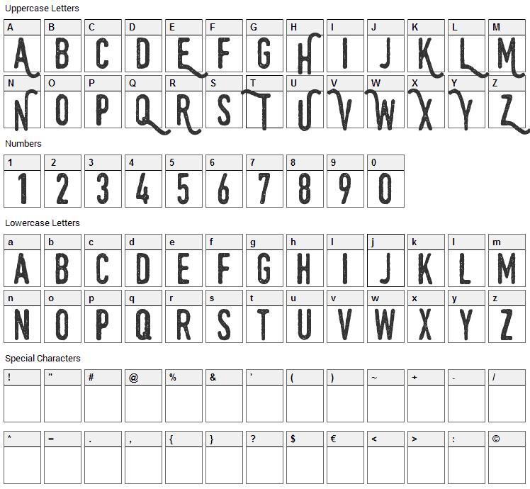 Swistblnk Monthoers Font Character Map
