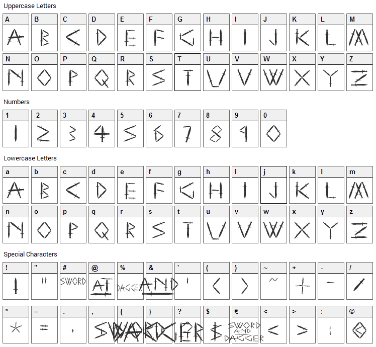 Sword and Dagger Font Character Map