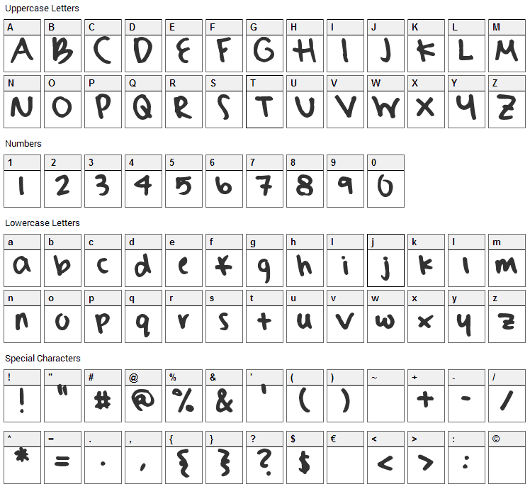 Sydneys Hand Font Character Map