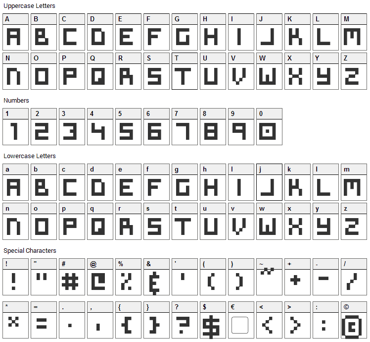 Symtext Font Character Map