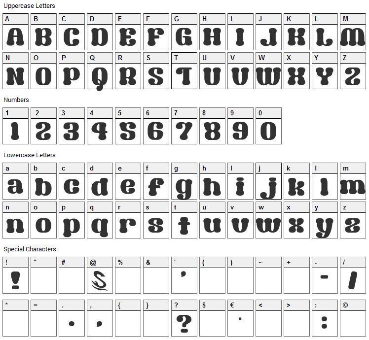 Syouwa Retro Pop Font Character Map
