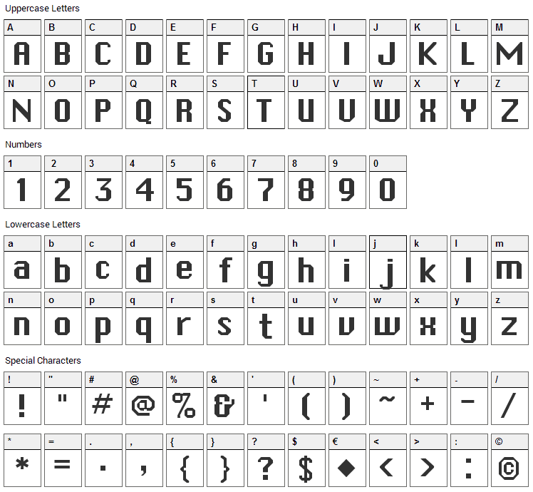Systematic J Font Character Map