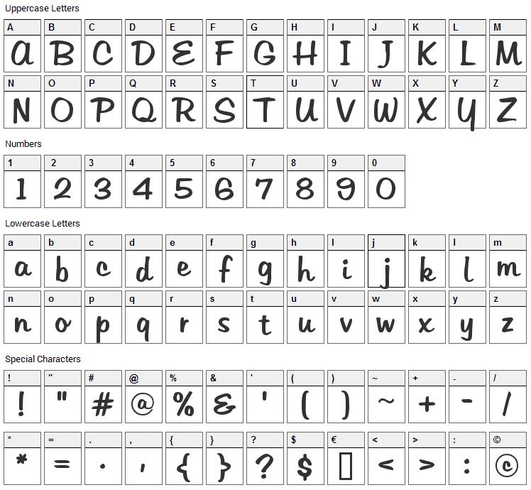 Tabitha Font Character Map